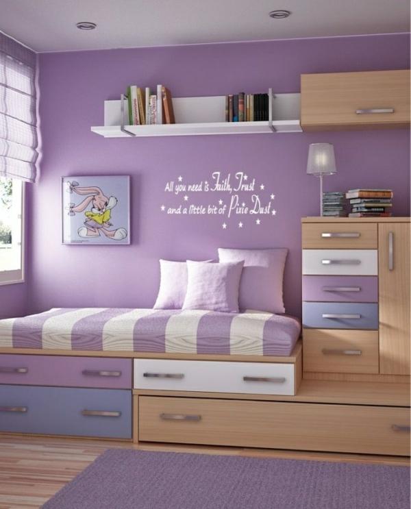 schlichte schöne kinderzimmer ideen in lila bett