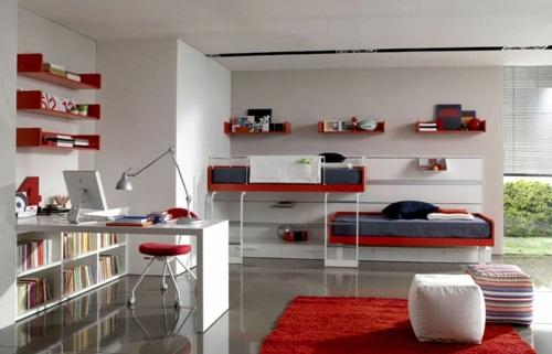 rote farbe farbgestaltung im jugendzimmer urban wohnstil