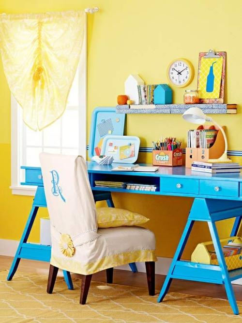 bürotisch selber bauen bunt holz preisgünstig blau cozy