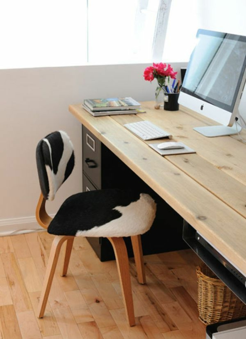 Schreibtisch selber bauen 60 stilvolle diy ideen f r sie for Schreibtisch naturholz