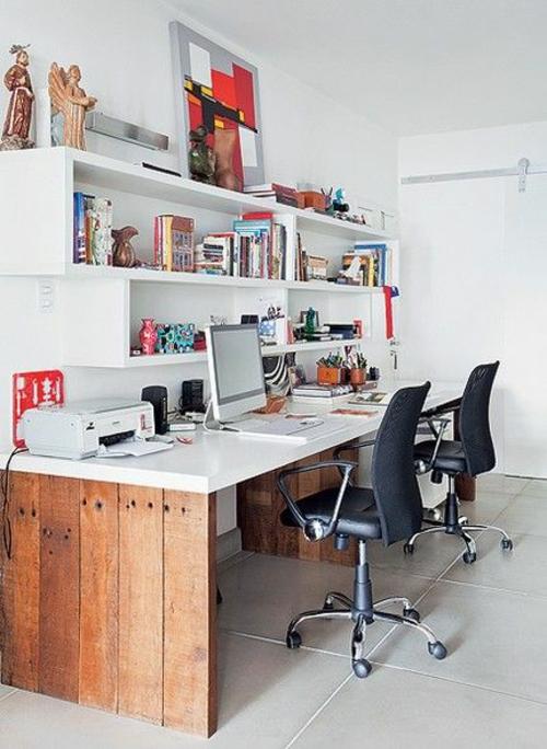 schreibtisch selber bauen diy büro ideen holzbohlen naturholz weiße holzplatte