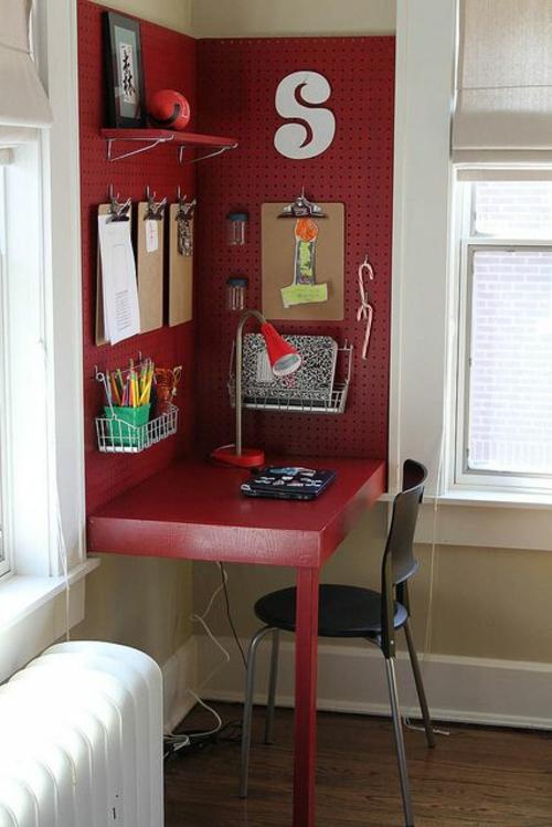 Schreibtisch Selber Bauen Diy Büro Ideen Sperrholz Rot Gestrichen