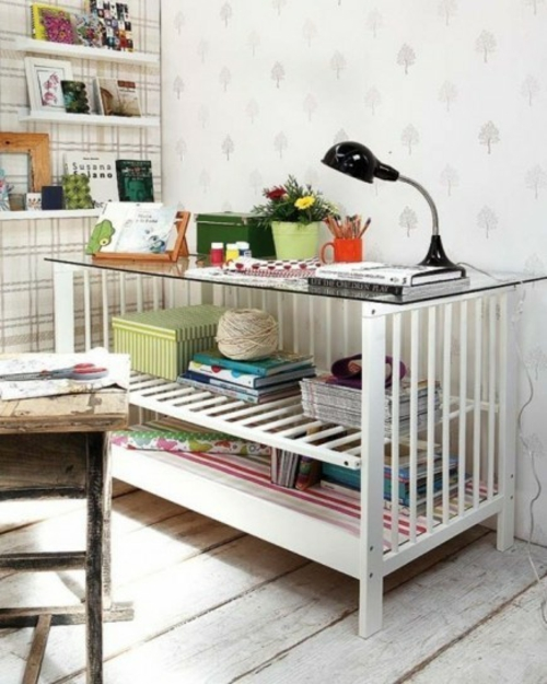schreibtisch selber bauen diy büro kinderzimmer babybett upcycling