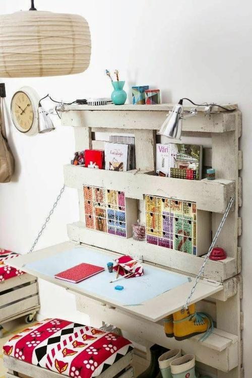 schreibtisch selber bauen diy büro kinderzimmer holzpalette metallene kette