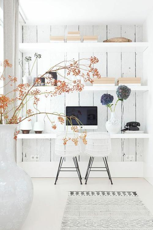 schreibtisch selberbauen diy büro weiße holzplatten holzbohlen wandregale sfgirlbybay.com