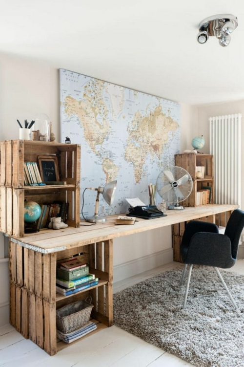 Schreibtisch selber bauen 60 stilvolle diy ideen f r sie - Mobel aus holzkisten ...