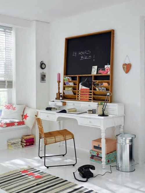 schreibtisch selber bauen home office antike kommode weiß streichen diy ideen