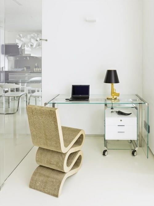schreibtisch selber bauen home office glasscheiben diy büro ideen