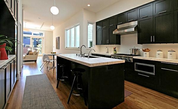 schwarz farben für küchenschränke bemalt holz marmor oberfläche kühn