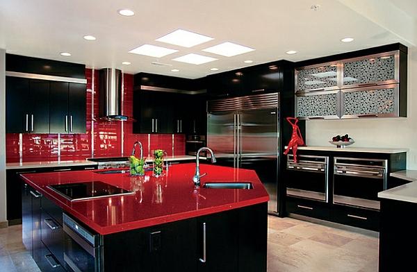 schwarz rot farben für küchenschränke atemberaubend klassisch charme glanz