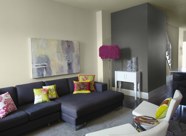 schwarz sofa farbe grau stehlampe pompös schöne wandfarben wohnzimmer