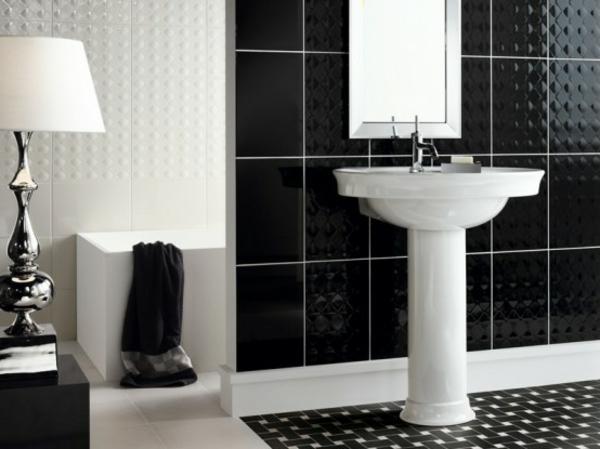 schwarz weiß badezimmer fliesen waschbecken
