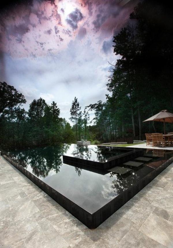 schwarzen pool im garten granit bodenbelag