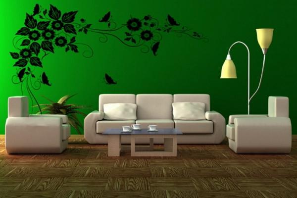 simpel wohnzimmer design kühn wandgestaltung wandsticker