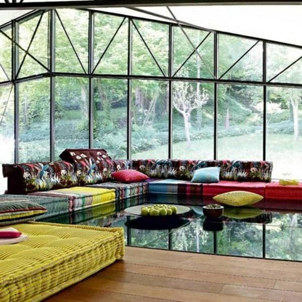 sonnenzimmer frische farben dekoideen