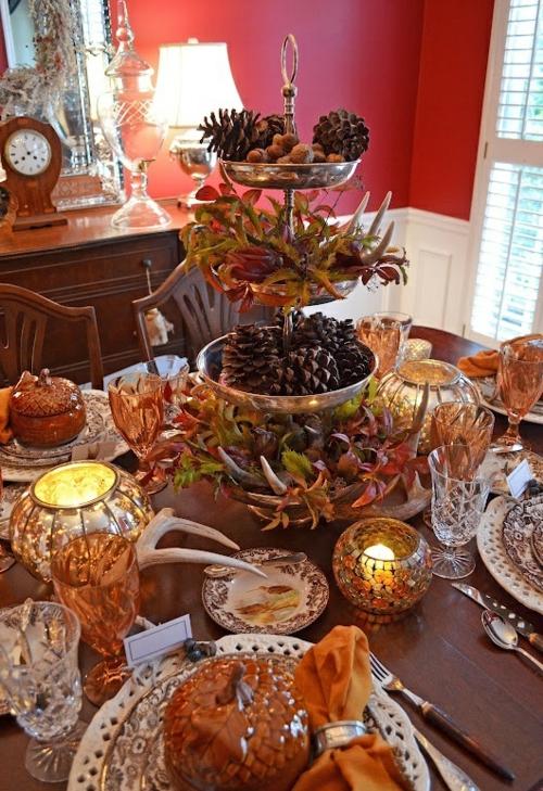 tischdeko für wohnzimmer: herbst tischdekoration tafel esstisch Ideen für Tischdeko im Herbst