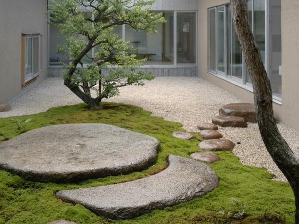 steingarten felsen steine rasen bäume kieselsteine fenster