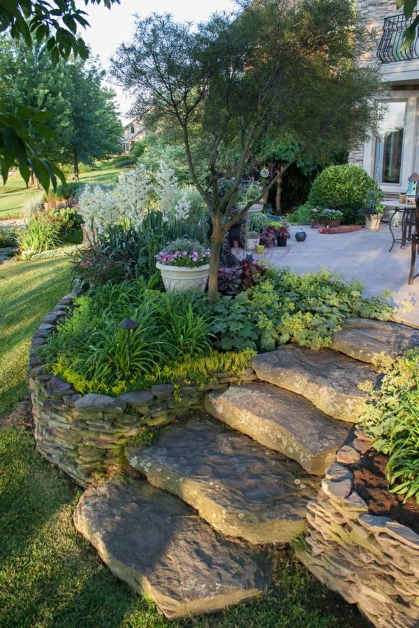 steinmauer im garten gestalten - kreative außenarchitektur, Hause und Garten