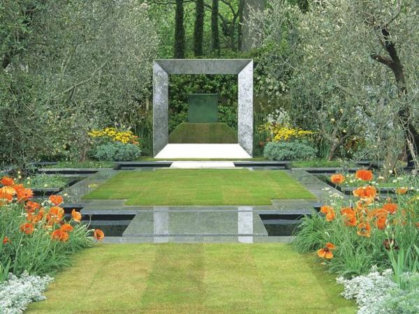 symmetrischen formalgarten  gestalten stahlrahmen granit und rasen