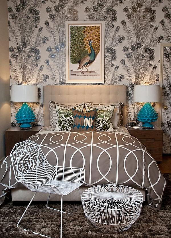 türkise moderne tischlampen wohnstil federn schlafzimmer