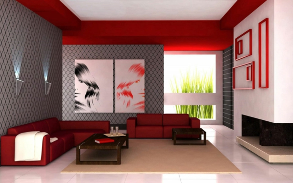 Perfekt Design : Wandgestaltung Wohnzimmer Grau Rot ~ Inspirierende Bilder, Modern  Dekoo
