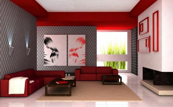 wohnzimmer rot grau ? marauders.info - Wohnzimmer Grau Weis Rot