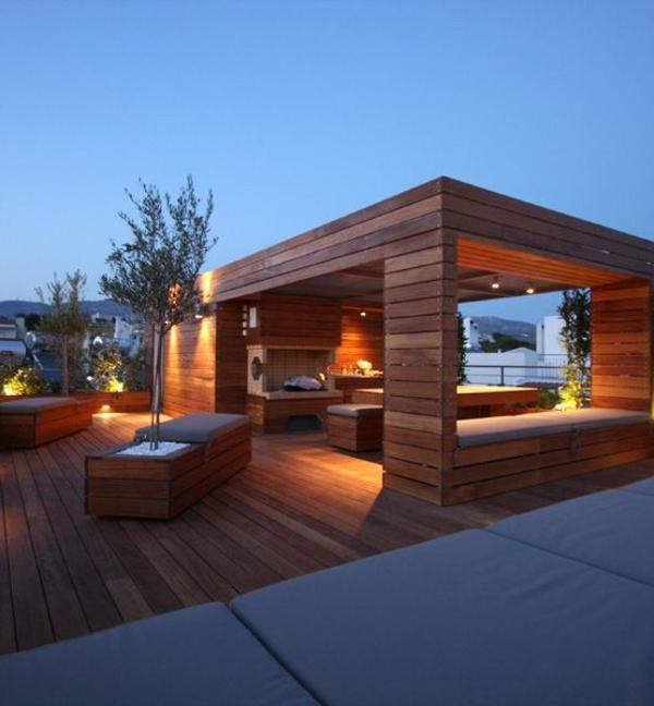 terrasse gestalten pergola holzmöbel tisch bank dekoration
