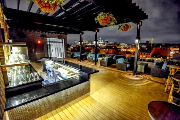 terrassengestaltung modern bar sessel korbmöbel