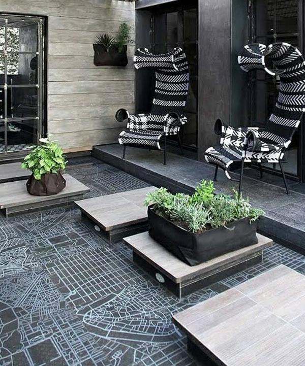 terrassengestaltung modern möbel futuristisch kacheln straßenkarte