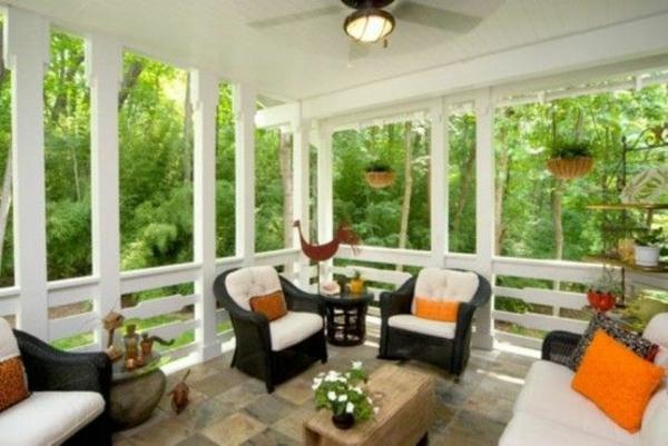 terrassengestaltung modern schöne dekoideen sessel tisch