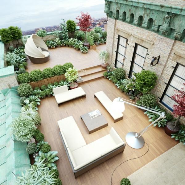 terrassengestaltung modern stehlampe sofa tisch dekoideen pflanzen