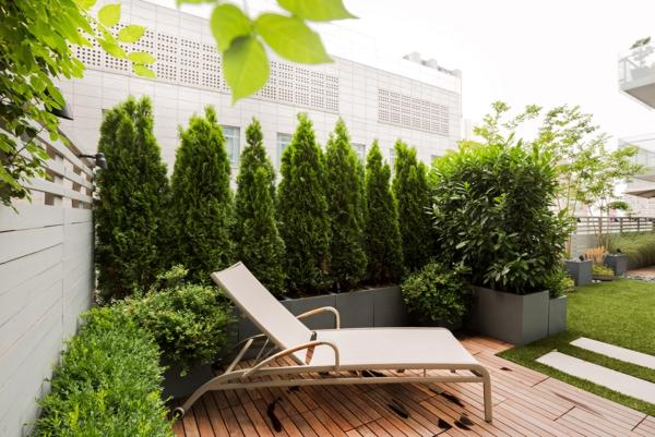 terrassensichtschutz holzveranda immergrüne pflanzen als sichtschutz