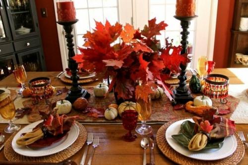 30 coole ideen f r tischdeko im herbst herbstdeko basteln - Herbst tischdeko natur ...