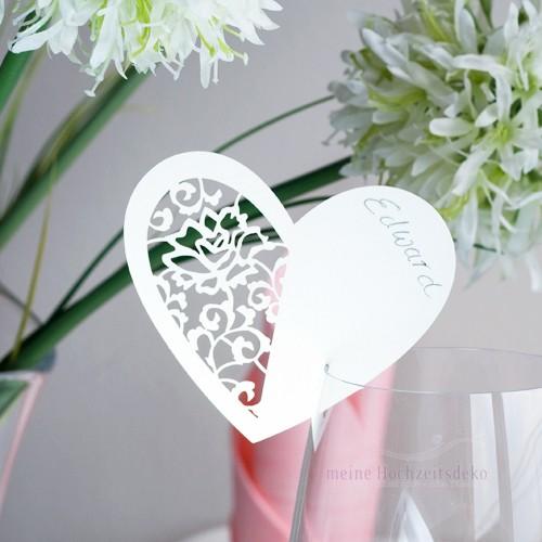 Tischkarten Hochzeit Herz Vintage Weiß Tischkarten Platzkarten ...