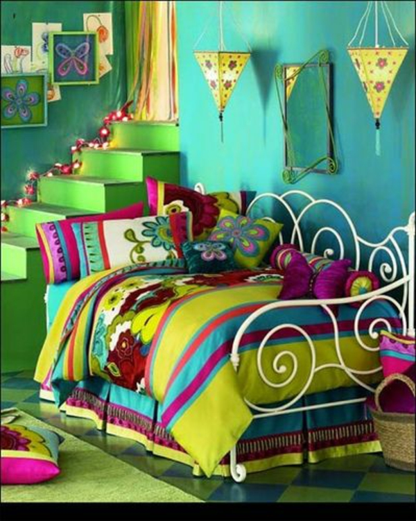 tolle farbkombination kinderzimmer grelle farben