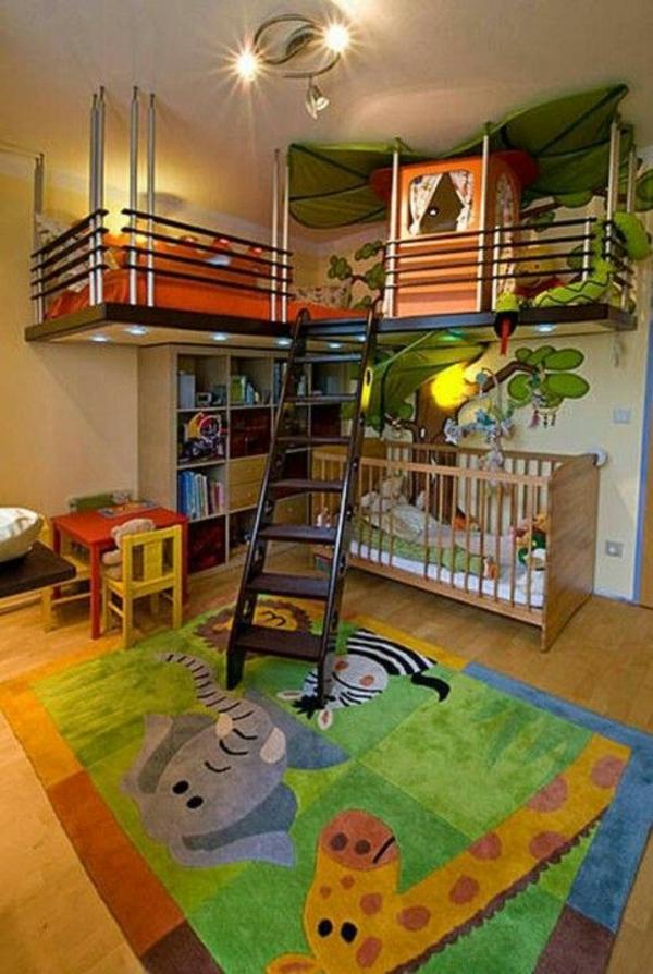 traumkinderzimmer design ideen lustiger teppich treppe