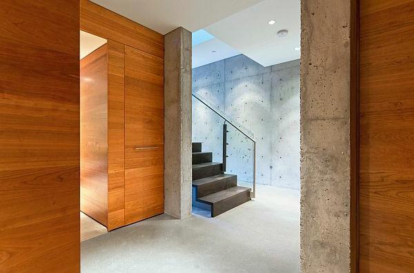 treppe betonwand gestaltung glas geländer Sichtbeton zu Hause