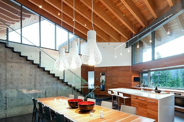 treppe küche holz beton wandgestaltung Sichtbeton zu Hause