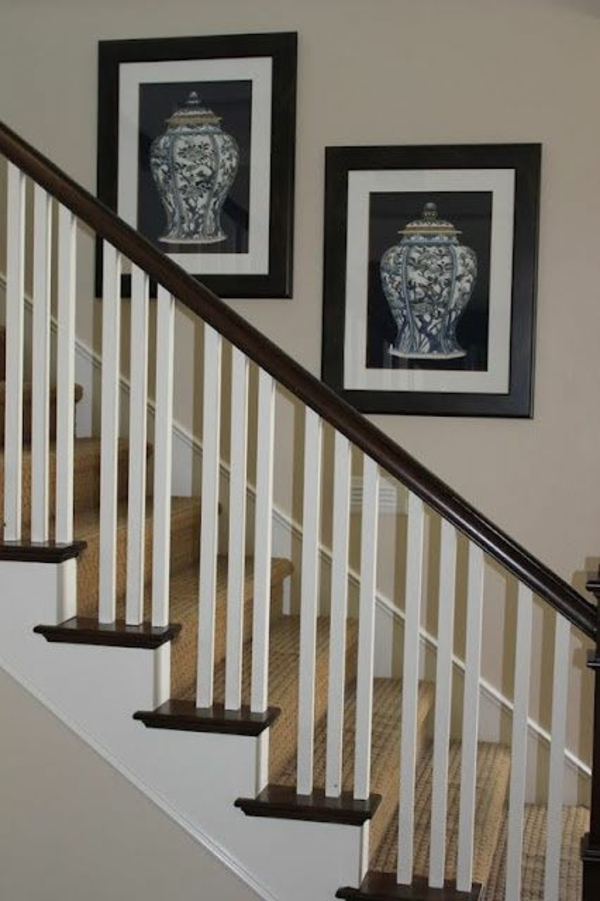 Banister With Black And White Paint