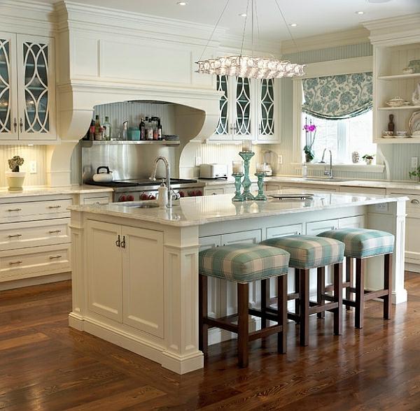 vintage blau kücheneinrichtung hocker weich auflagen