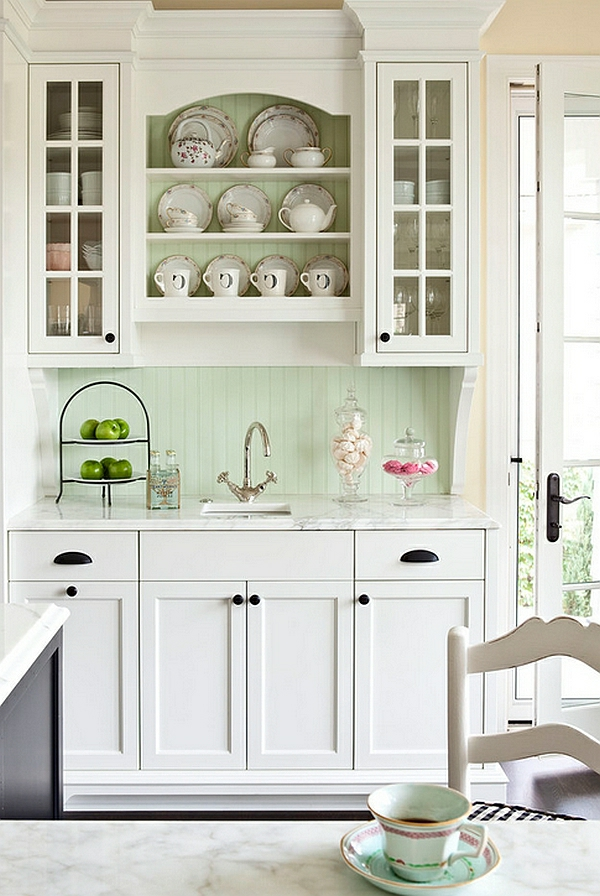 vintage retro einrichtung farben für küchenschränke spüle porzellan teller