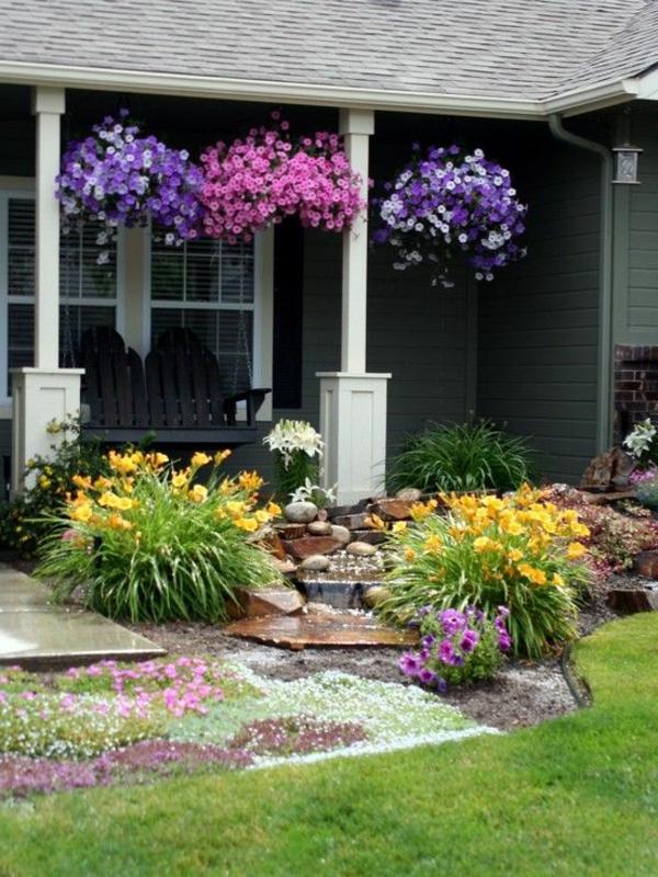 blumen blüten gelb lila wasser vorgarten gestalten gras