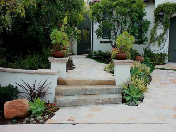 blumen treppe pflanzenarten vorgarten gestalten gras