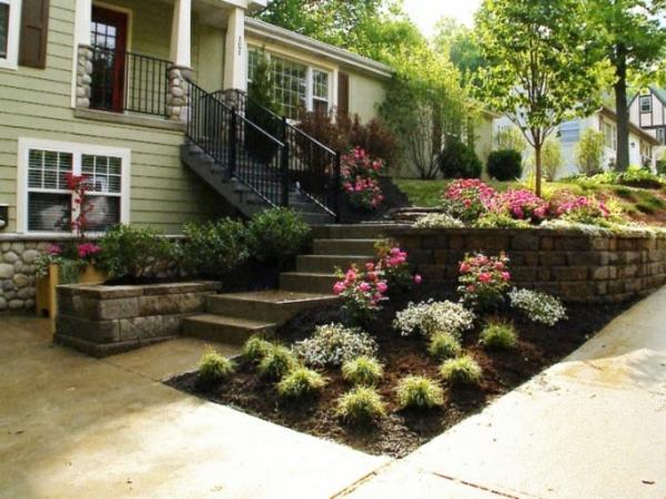 blumenbeet pflanzenarten treppe vorgarten gestalten gras