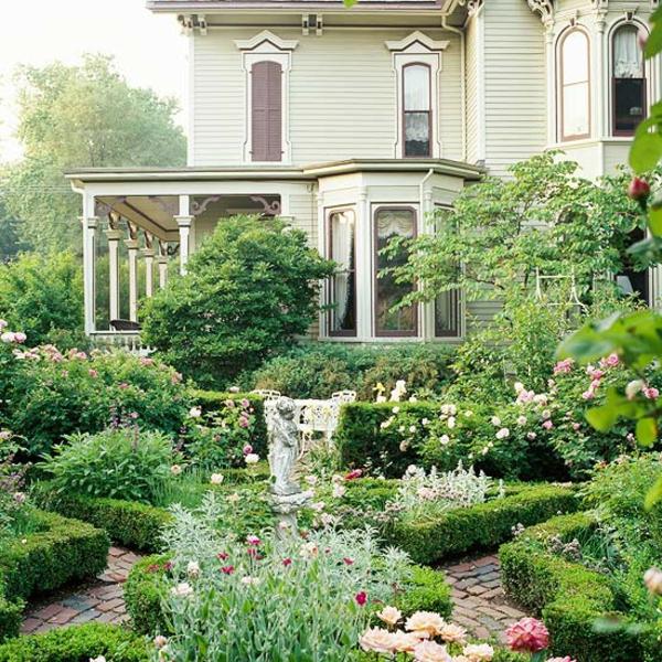 veranda vorgarten gestalten steinplaten fußboden blumen