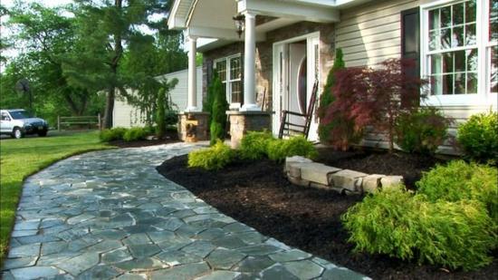 vorgartengestaltung ideen weg steinen pflanzen bäume gartengestaltung
