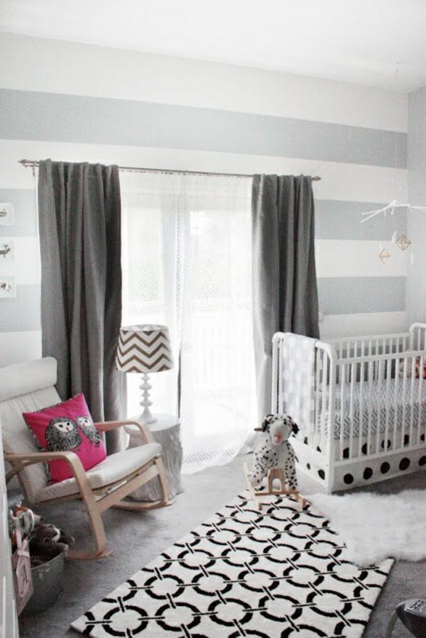 wand farben ideen gestrichen kreisförmiger teppich babywiege