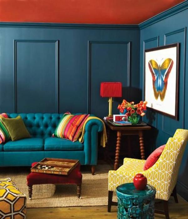100 wandfarben ideen f r eine dramatische wohnzimmer gestaltung - Vintage wandfarbe ...