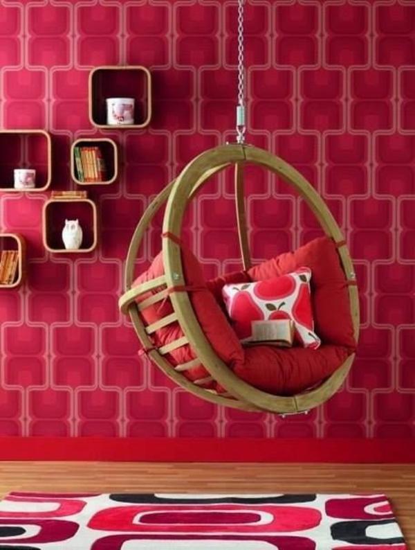 wand teppich dekoration rosa schaukel mädchenzimmer ideen