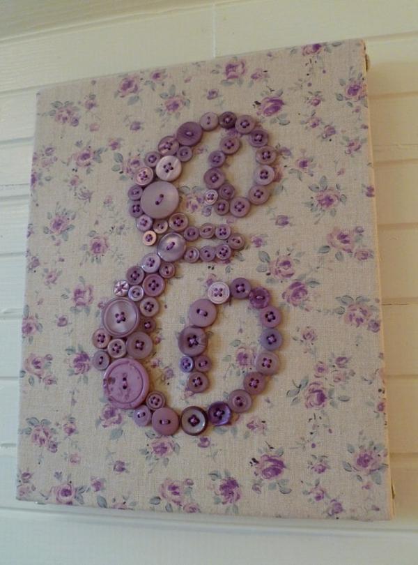 wand art lila farben stoff dekoideen